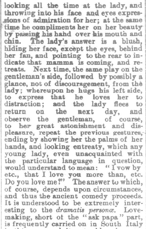 Kristin Holt | Love-making in South Italy, 1800s, Part 2. From Chetopa Advance of Chetopa, Kansas on March 27, 1879.