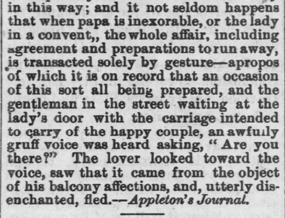 Kristin Holt | 1800s Love-making in South Italy, Part 3. From Chetopa Advance of Chetopa, Kansas on March 27, 1879.