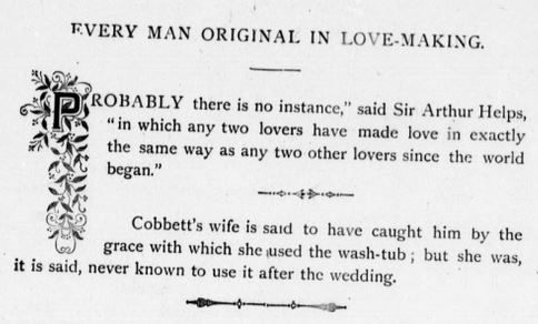 """Kristin Holt   1800s Lovemaking in a G-Rated Context: """"Every Man Original in Love-Making"""". Probably there is no instance in which any two lovers have made love in exactly the same way as any two other lovers since the world began."""" (Sir Arthur Helps) From Proposal and Espousal, A Christian Treatise. Published, 1880s. Now public domain."""