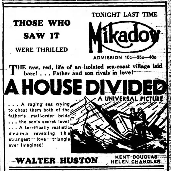 MOB love triangle. Movie. Manitowoc herald-Times. Manitowoc Wisconsin. 13 Jan 1932