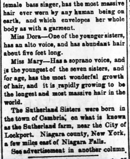 Kristin Holt | L-O-N-G Victorian Hair. Part 2-- The Daily Review of Wilmington, North Carolina, on 27 March, 1882.