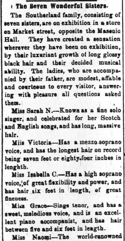 Kristin Holt | L-O-N-G Victorian Hair. The Seven Wonderful Sisters (The Seven Southerland Sisters) with their long hair, mentioned in The Daily Review of Wilmington, North Carolina, on 27 March, 1882.