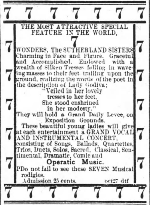 Kristin Holt | L-O-N-G Victorian Hair. The Sutherland Sisters advertised within The Atlanta Constitution of Atlanta, Georgia, on 29 October, 1881.