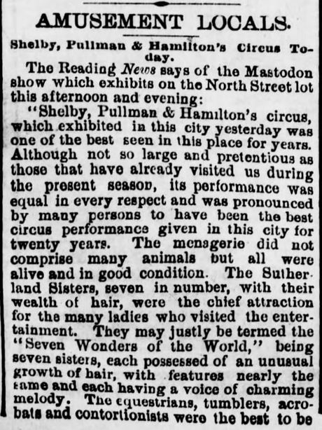 Kristin Holt | L-O-N-G Victorian Hair. 1: Sutherland Sisters, Part 1. Harrisburg Telegraph of Harrisburg, Pennsylvania on 26 July, 1881.