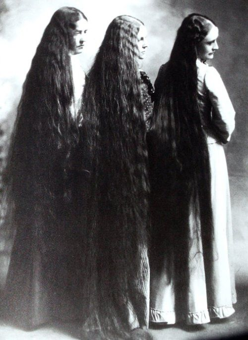 Kristin Holt | L-O-N-G Victorian Hair. Three Victorian Women with long hair, from retronaut.com and Pinterest.