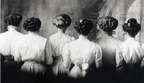 Victorian hair up-do's of six women as pictured from the back. Image from rapunzelsdelight.com and Pinterest.