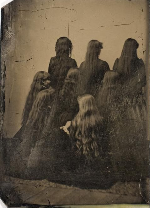 Kristin Holt | L-O-N-G Victorian Hair. Vintage photograph of the backs of 8 unidentified women. circa 1880. Tintype. International Center of Photogrophy