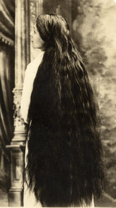 Victorian woman with very dark long hair. Black-pool Tumbler and Pinterest.
