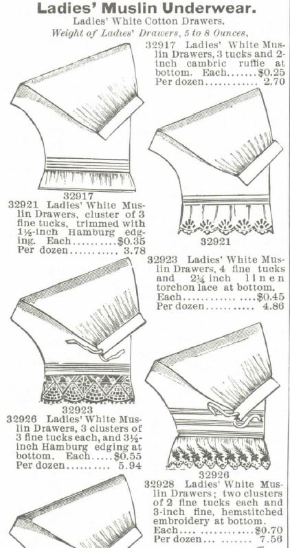 Cotton Drawers. Montogmery Ward Spring and Summer 1895