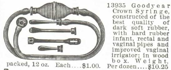 Crown Syringe with vaginal and rectal pipes. Montgomery Ward catalog 1895