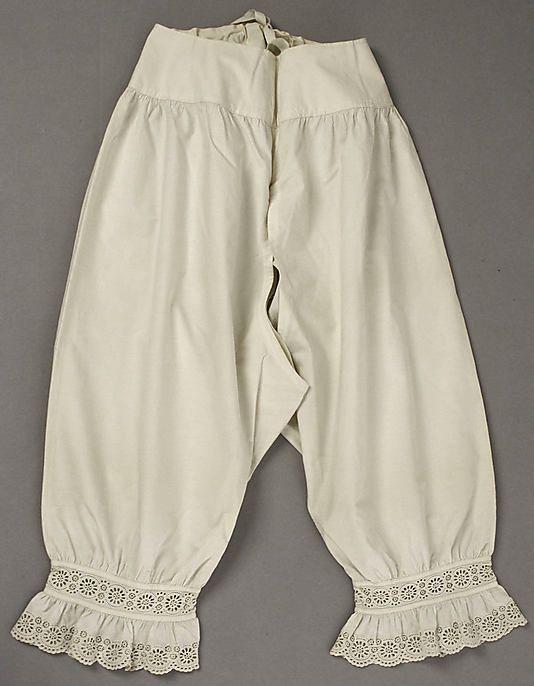 Kristin Holt | Victorian Ladies Underwear. Photograph of drawers 1840 from the Metropolitan Museum of Art via Pinterest