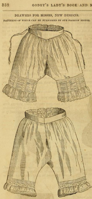 Kristin Holt | Victorian Ladies Underwear. Drawers Designs shown in Godey's Lady's Book and Magazine, October 1861.