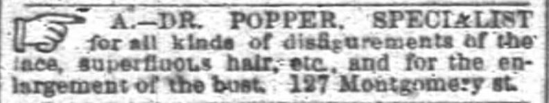 Kristin Holt | Lady Victorian's Secret. Enlargement of the Bust; see Dr. Popper, specilalist. Advertised in San Francisco Chronicle on March 9, 1890.