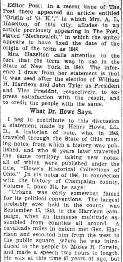 First Use O.K. Harrison's Campaign 1840. Part 2. The Washington Post. Washington DC. 21 Oct 1909