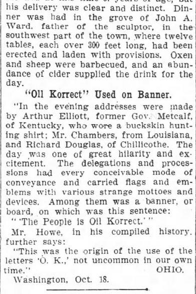 First Use O.K. Harrison's Campaign 1840. Part 3. The Washington Post. Washington DC. 21 Oct 1909