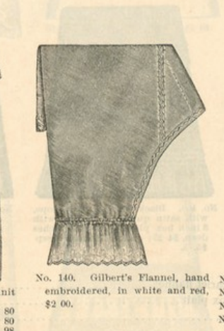 Kristin Holt   Victorian Ladies Underwear. Flannel Drawers for sale in B. Altman and Co. Catalogue No. 54, of New York, Fall and Winter 1886-1887.