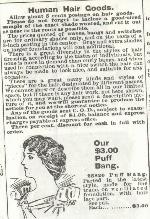 Human Hair Goods, part 1, in the Sears Catalog No 104 of 1897, p 342.