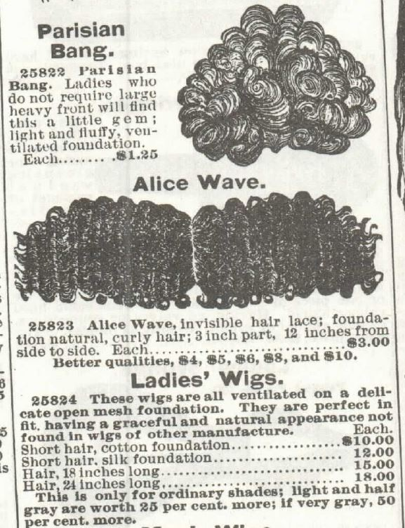Human Hair Goods, Part 2 of Sears Catalog no. 104 of 1897, p 342.