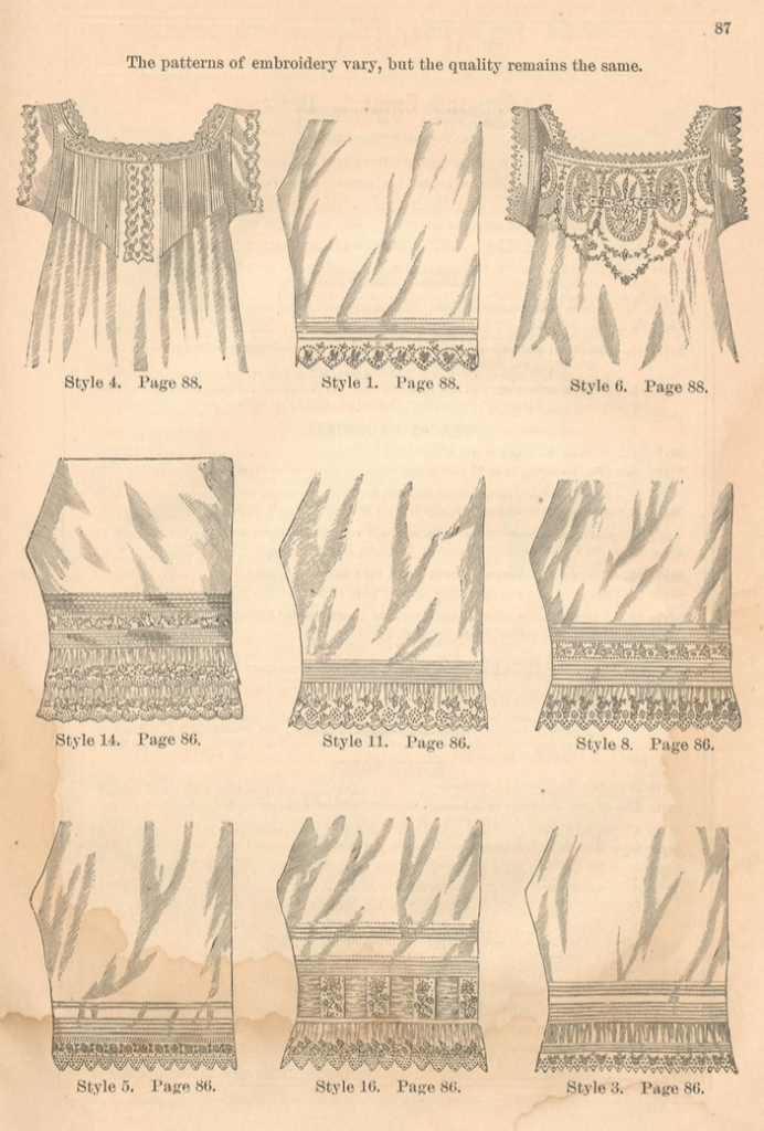 Kristin Holt   Victorian Ladies Underwear. Illustrations of chemises and drawers (with focus on embroidery and tucks) for sale by the B. Altman and Co. Catalogue of New York, Fall and Winter 1879-1880.
