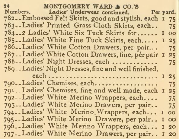 Ladies Drawers. Montgomery Ward 1875