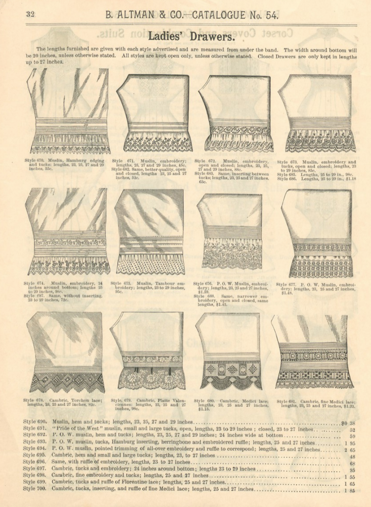 Kristin Holt | Victorian Ladies Underwear. Illustrated lower hems of various ladies drawers offered for sale in B. Altman and Co's Catalogue (New York), No. 54, Fall and Winter 1886-1887.
