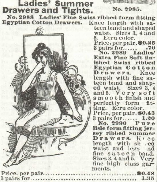 Ladies Summer Drawers (form-fitting) and Tights. 1897 Sears Catalog