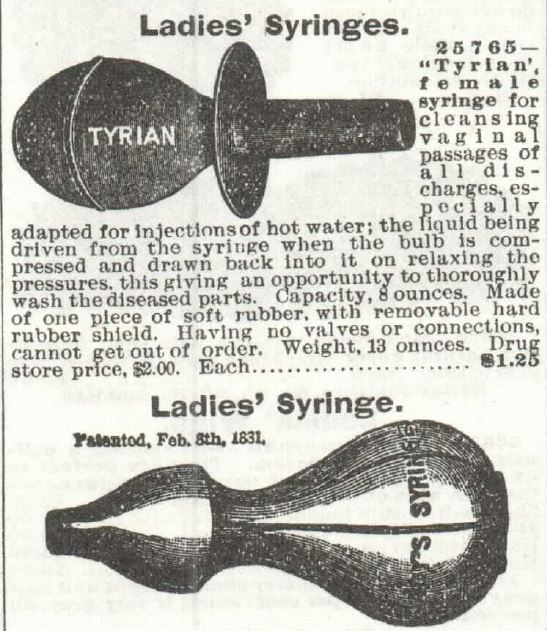 Ladies' syringes vaginal discharge. part 1 of 2. Sears catalog 1897 no 104 p341