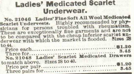 Medicated Underwear, 1897 Sears Roebuck and Co. Spring and Summer Catalog