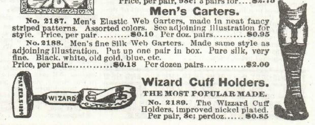 Kristin Holt | How Did Victorian Stockings Stay Up? Men's Garters and Wizard Cuff Holders for sale in Sears, Roebuck & Co. 1897 Catalogue No. 104.