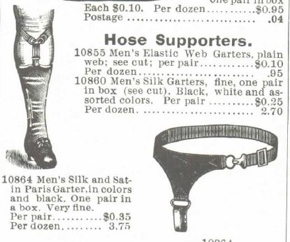 Mens hose supporters. 1895 Montgomery Ward Spring and summer catalog