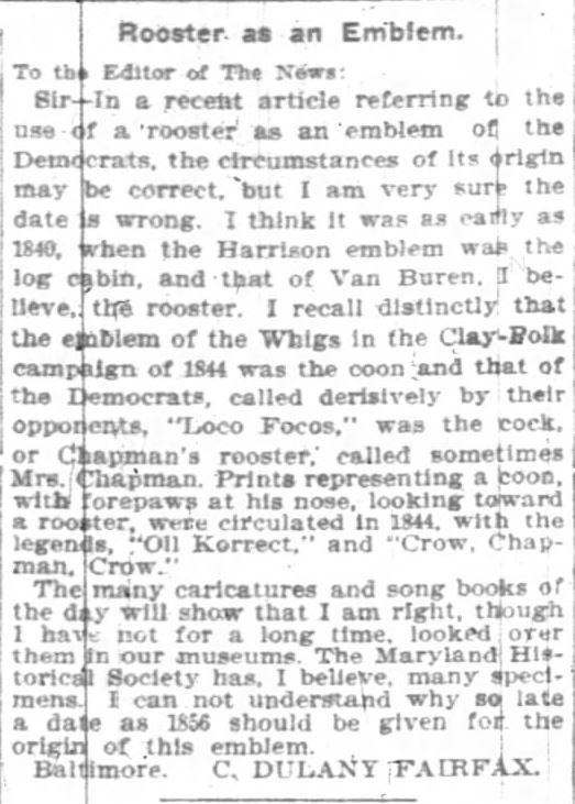 Oll Korrect. rooster as an emblem. the Indianapolis News. 19 Jan 1903