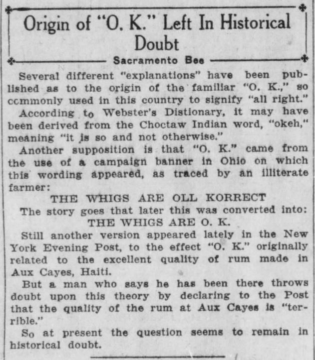 Origin of O.K. Historical Doubt. Santa Ana Register. Santa Ana CA. 29 Nov 1927