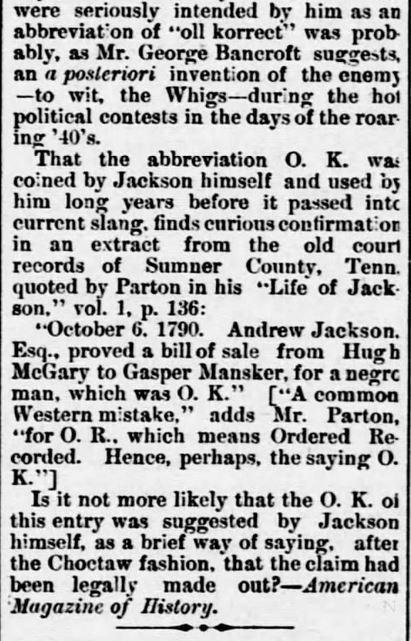 Origin of O.K. Part 3. St. Tammany Farmer. Covington LA. 10 Oct 1885