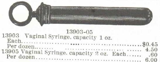 Vaginal Syringe. Montgomery Ward 1895