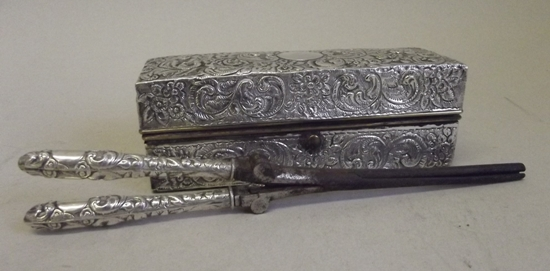 Kristin Holt | Victorian Curling Irons. Photograph of a late Victorian, embossed, silver mounted curling iron with heater and box, with maker's mark of Charles Fox & Co. Ltd and Chester hallmark for 1897. Sold by The Salesroom in 2013.