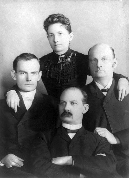Bob, Jim, and Cole Younger, from left to right, with sister Henrietta. From Legends of the West: The History of the James-Younger Gang.
