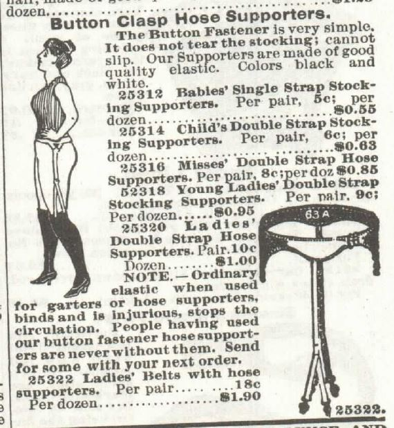 Kristin Holt | How Did Victorian Stockings Stay Up? Ladies' Button Clasp Hose Supporters. For sale in 1897 Sears, Roebuck & Co. Catalogue No. 104.