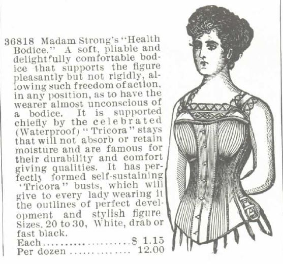Corset Advertisement within the Montgomery, Ward & Co. Catalog of 1895, stating: