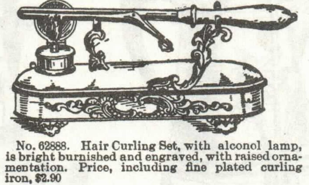 curling iron. silver plated. alcohol lamp to heat it. engraved. sears catalog 1897 no 104 p 462