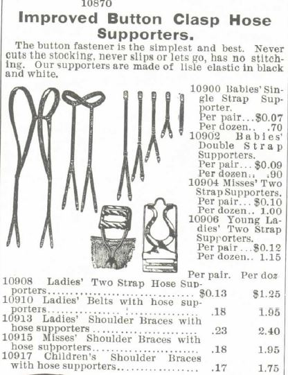 Kristin Holt | How Did Victorian Stockings Stay Up? Improved Button Clasp Hose Supporters for Babies, Young Ladies, Ladies, Misses, and Children. For sale in 1895 Montgomery, Ward & Co. Catalogue.