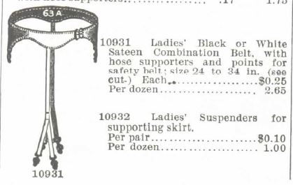 ladies suspenders stockings skirts. 1895 Montogmery Ward spring summer catalogue