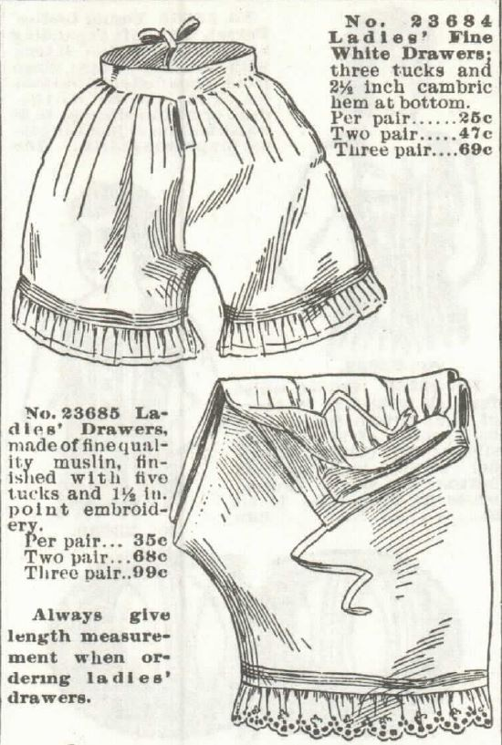 White drawers, shows open crotch construction. Sears Roebuck catalog of Spring and Summer, 1897.