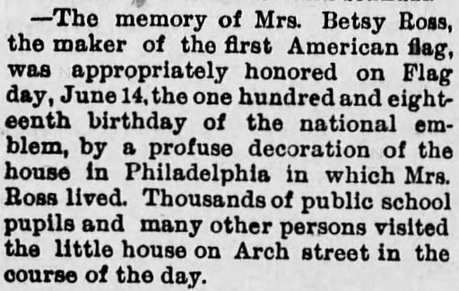 Betsy Ross. Flag Day. Newton Daily Republican of Newton, Kansas, on August 12, 1895