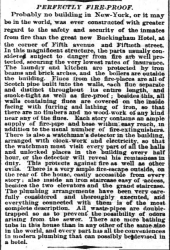 Fireproof hotel has bathing tubs and pipes to waste-pipes to sewer. The New York Times. Ny Ny. 30 May 1875