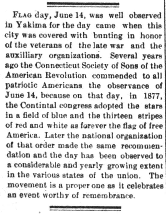 Flag Day, in The Yakima Herald of Yakima, Washington on June 15, 1893.