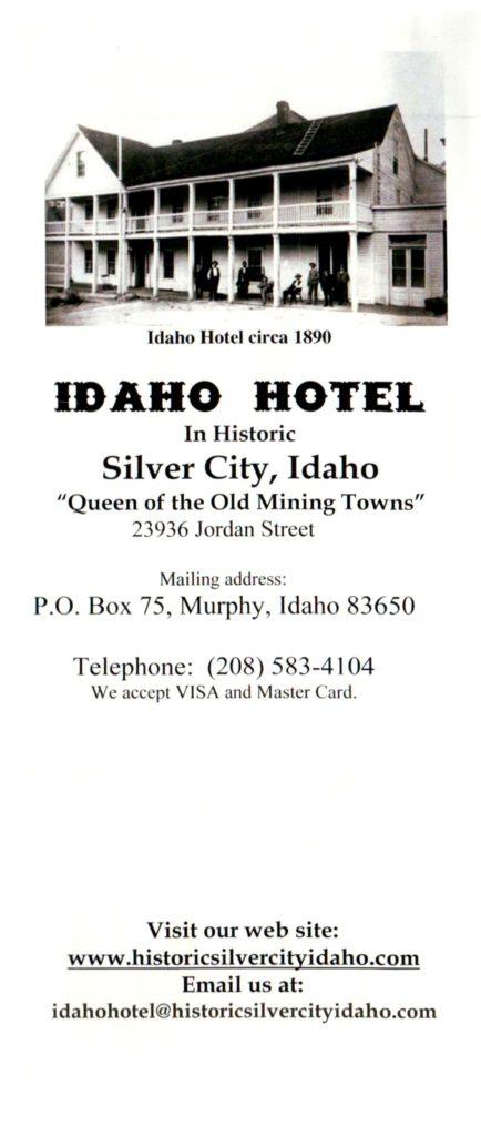 Idaho Hotel Pamphlet Cover, Courtesy of the Idaho Hotel, Silver City, Idaho.