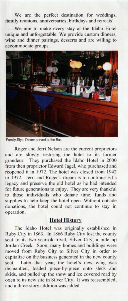 Idaho Hotel Pamphlet, Page 3
