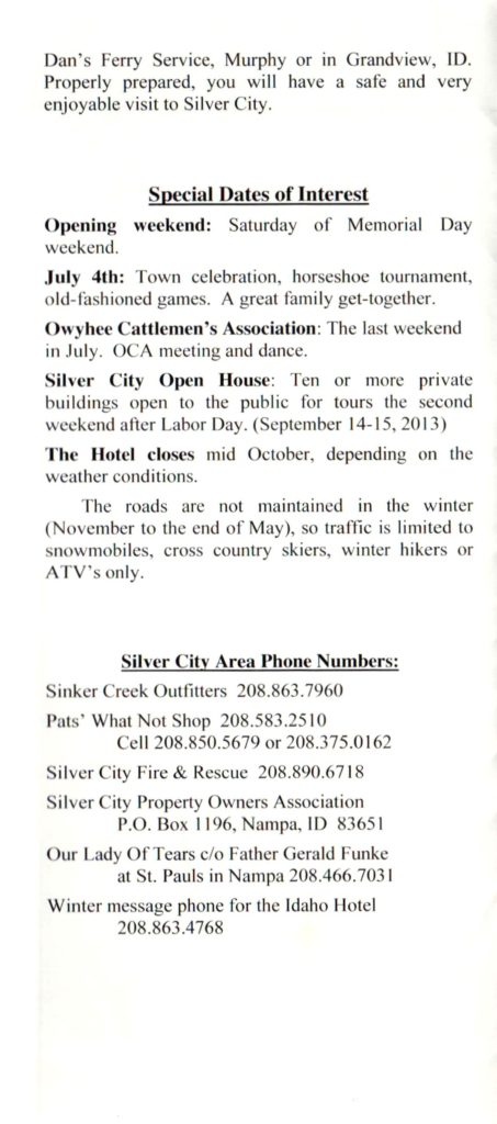 Idaho Hotel Pamphlet, Page 5