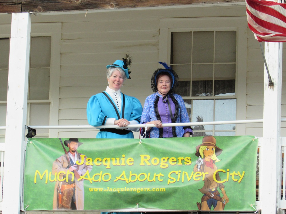 Kristin Holt (left) and Charlene Raddon (right) on the upper porch of historic Silver City's Idaho Hotel.