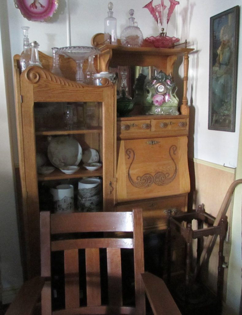 Secretary (ladies' desk) on display within Ladies' Parlor (generally not open to the public), historic Idaho Hotel, Silver City, Idaho.